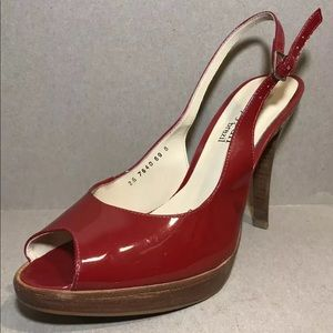 Cathy Jean brazil Sz 8 Red Leather Glossy Pointy